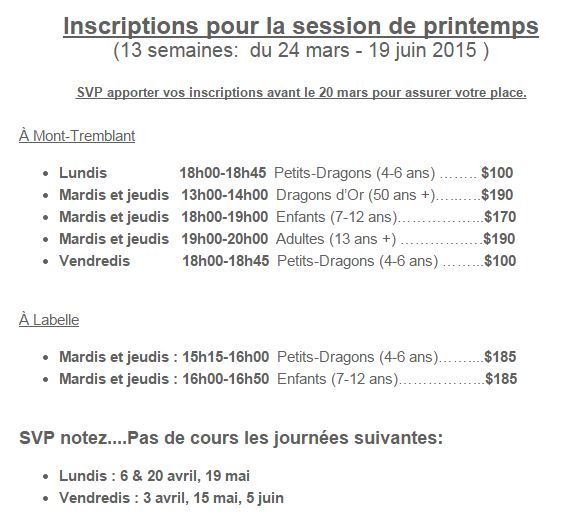 Horaire inscriptions SPRING 2015